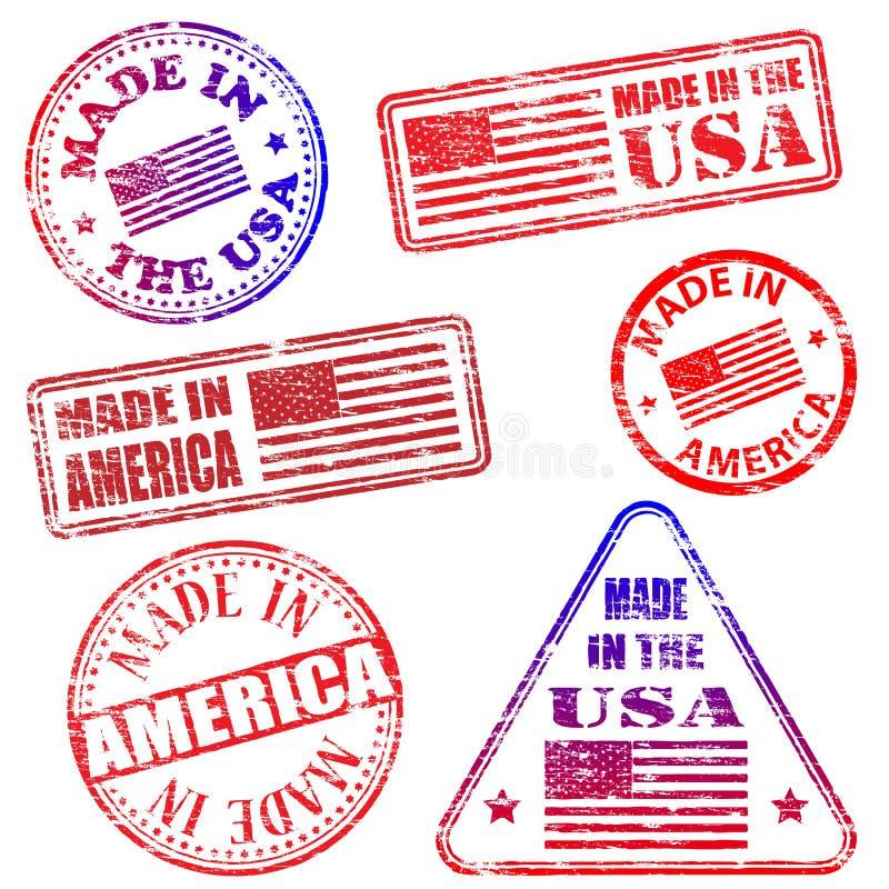 Effectué dans des estampilles de l'Amérique illustration libre de droits