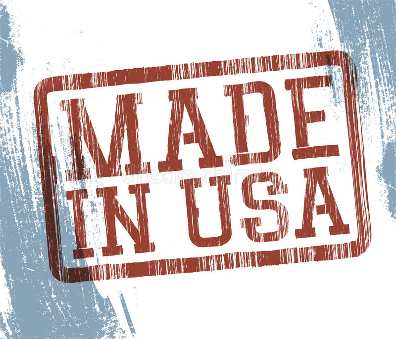 Effectué dans l'estampille des Etats-Unis illustration de vecteur