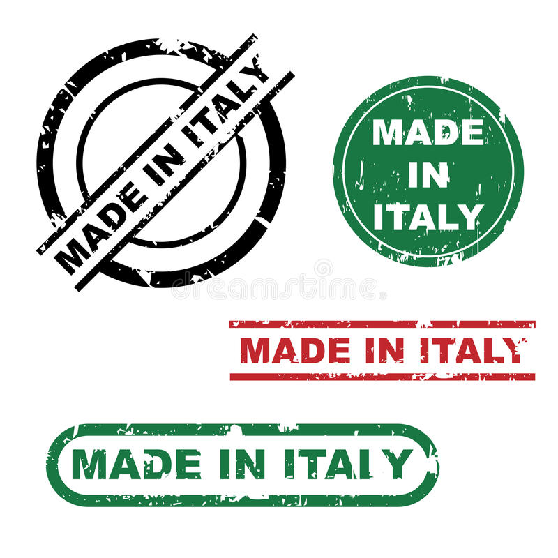 Effectué dans le positionnement d'estampille de l'Italie illustration stock