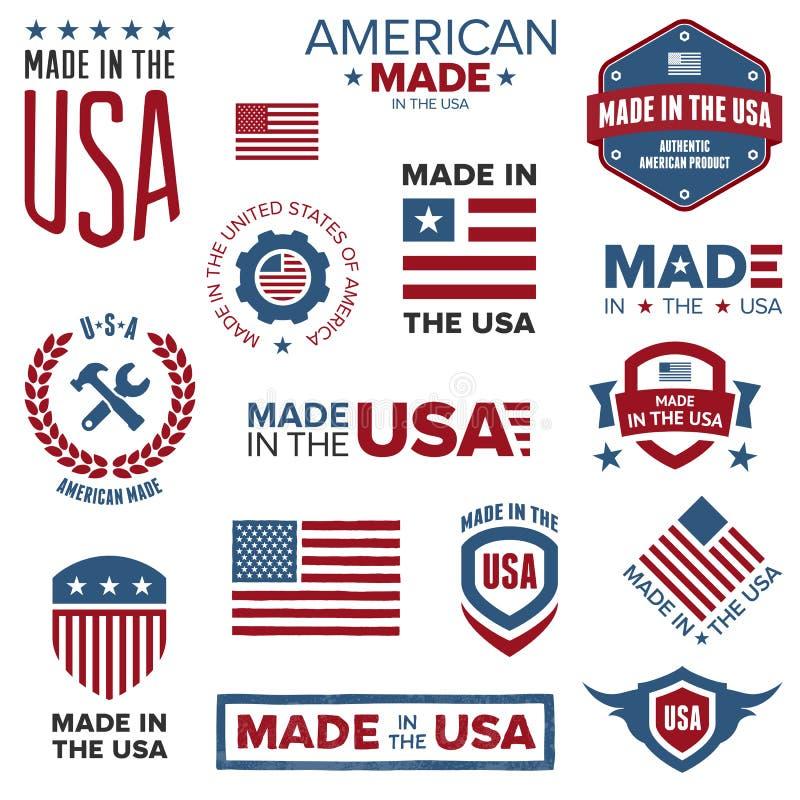 Effectué dans les conceptions des Etats-Unis illustration stock