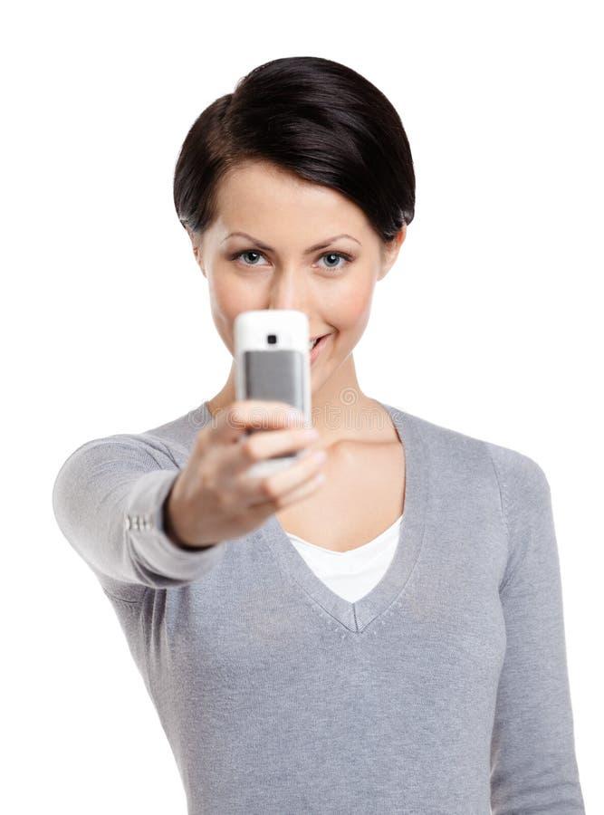 Effectuer une photo avec le téléphone portable photos libres de droits