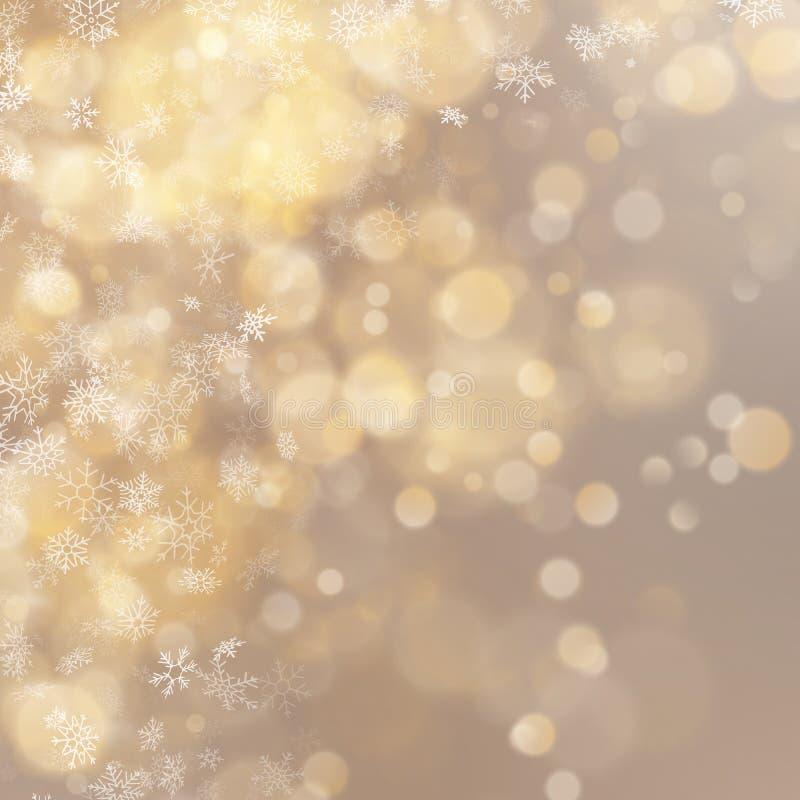 Effekt för bokeh för ferie för abstrakt begrepp för jul och för nytt år guld- 10 eps stock illustrationer