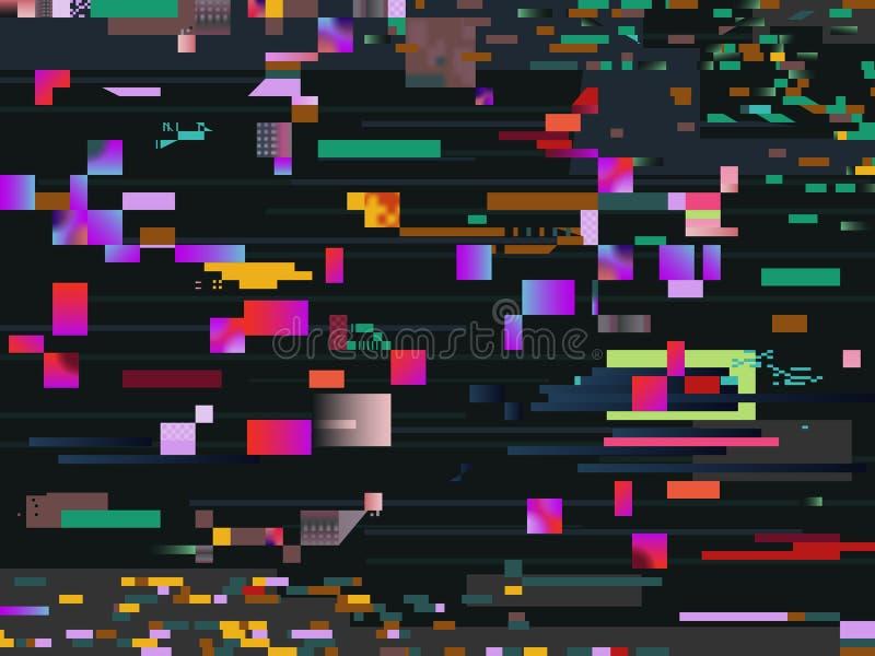 Effekt för Digital tekniskt felskärm Bakgrund för Glitched video informationsvektor stock illustrationer