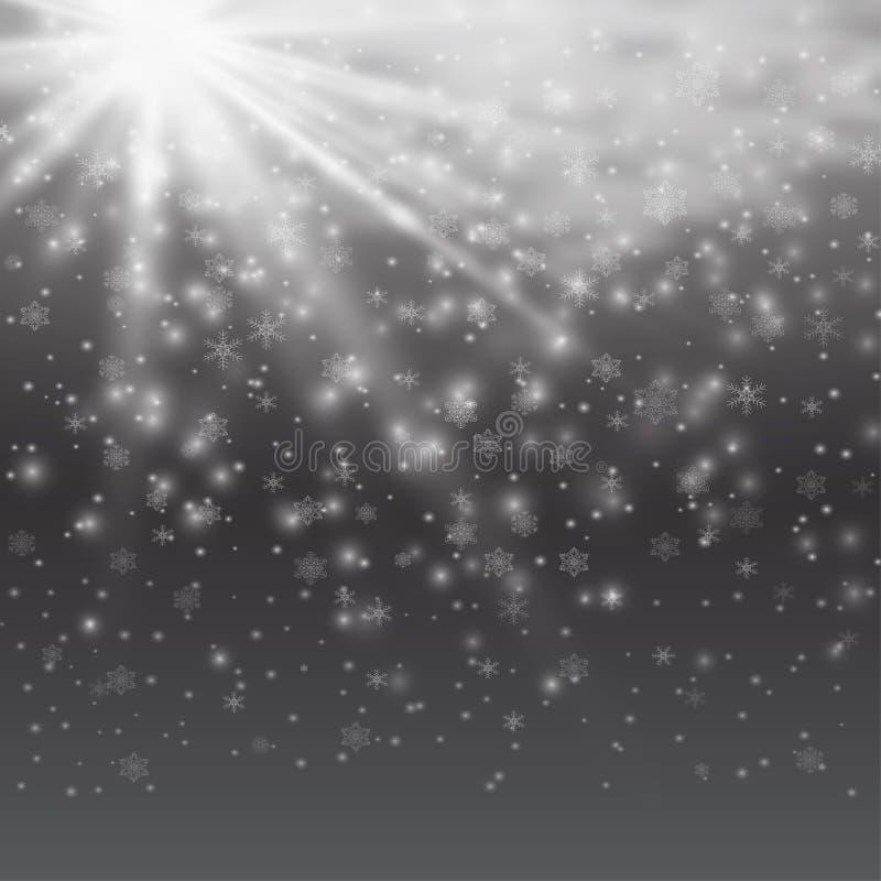Effekt för genomskinlig för solljus för vektor ljus special signalljus för lins Solexponering med strålar, snö och strålkastaren royaltyfri illustrationer