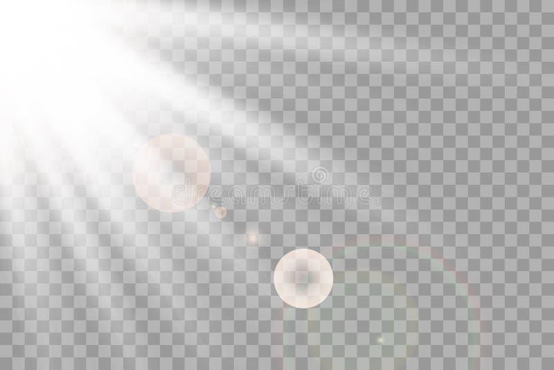 Effekt för genomskinlig för solljus för vektor ljus special exponering för lins främre sollinsexponering royaltyfri illustrationer