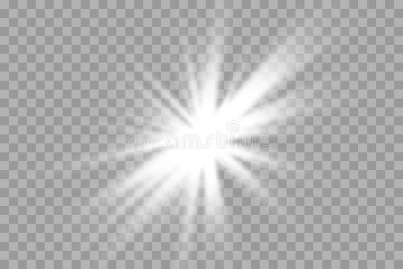 Effekt för genomskinlig för solljus för vektor ljus special exponering för lins främre sollinsexponering vektor illustrationer