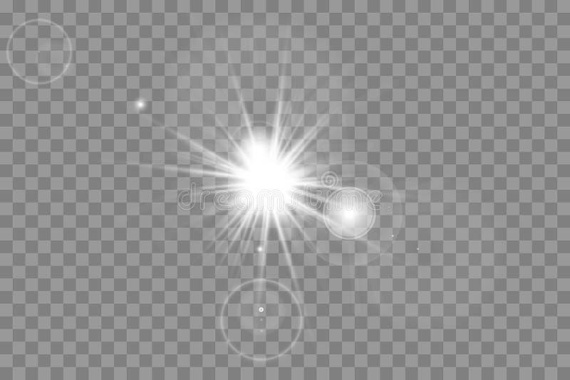 Effekt för genomskinlig för solljus för vektor ljus special exponering för lins främre sollinsexponering stock illustrationer