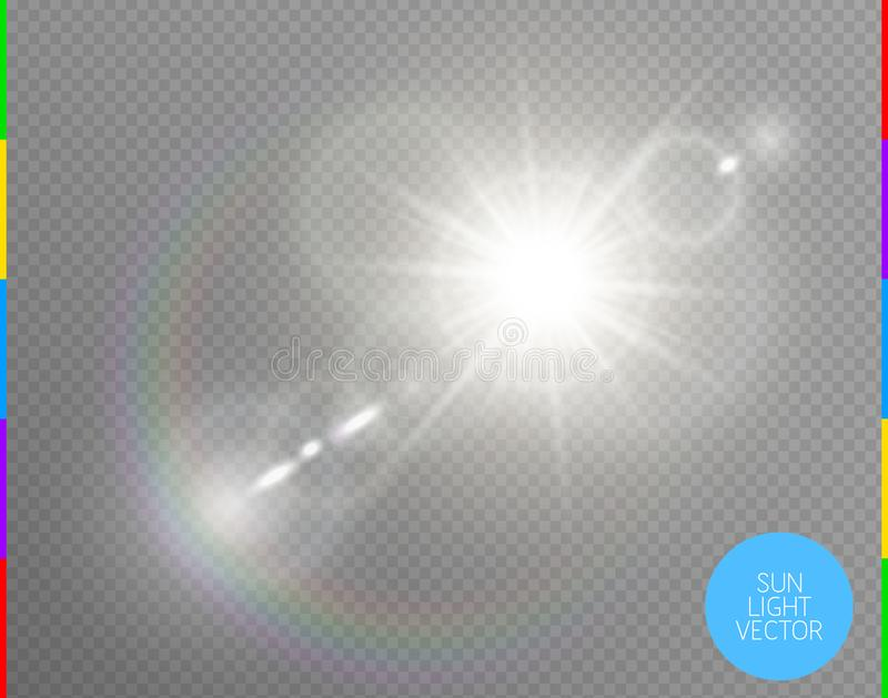 Effekt för genomskinlig för solljus för vektor ljus special signalljus för lins Isolerad prålig strålstrålkastare för sol Vitt fr stock illustrationer