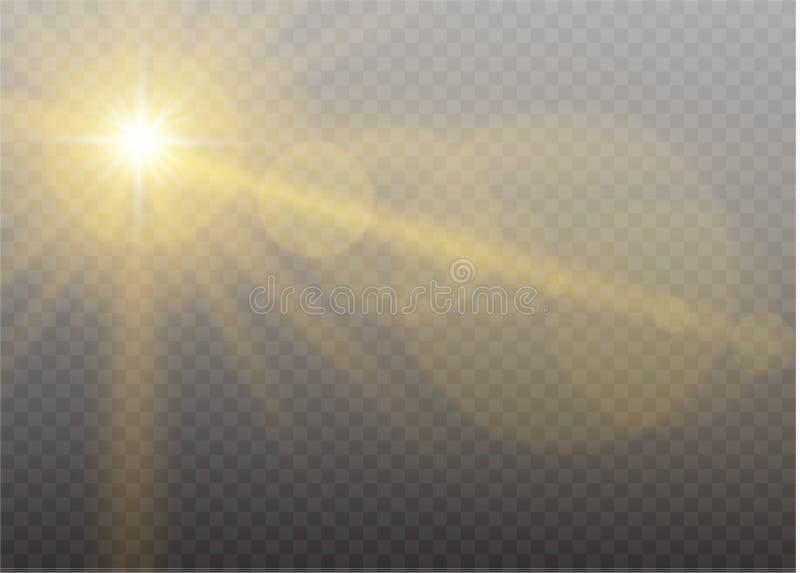 Effekt för genomskinlig för solljus för vektor ljus special signalljus för lins Moln vektor illustrationer