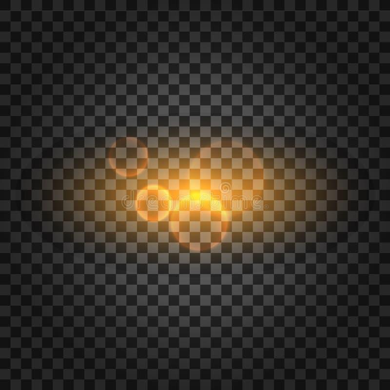 Effekt för genomskinlig för solljus för vektor ljus special signalljus för lins också vektor för coreldrawillustration royaltyfri illustrationer