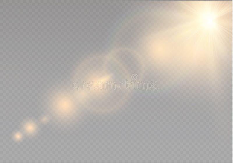 Effekt för genomskinlig för solljus för vektor ljus special signalljus för lins Solexponering med strålar och strålkastaren royaltyfri illustrationer