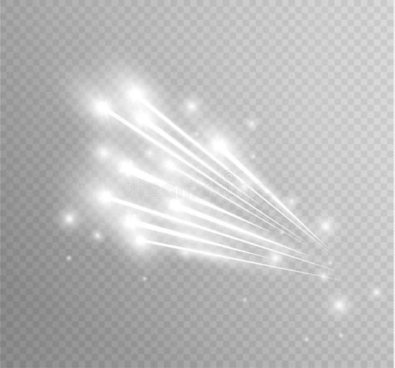 Effekt för magisk stjärna för abstrakt vektor glödande ljus från neonsuddigheten av krökta linjer Blänka slingan för stjärnadamm  royaltyfri illustrationer