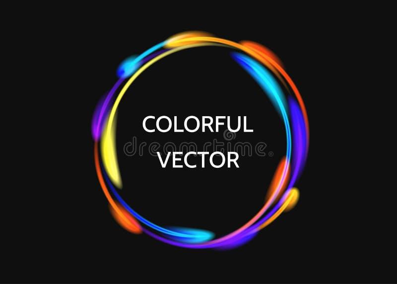 Effekt för neoncirkelljus på svart bakgrund royaltyfri illustrationer