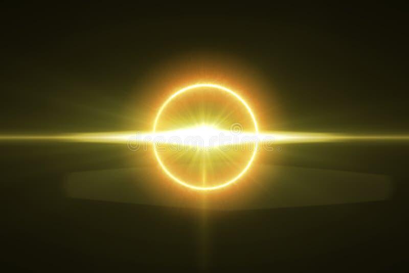 Effekt för varm signalljus för cirkel glödande med svart vektor illustrationer