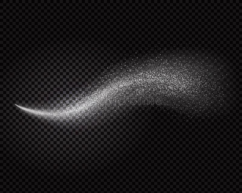 Effekt för vattensprej, kosmetisk vit dimma eller freshenerærosolvektor på genomskinlig bakgrund stock illustrationer