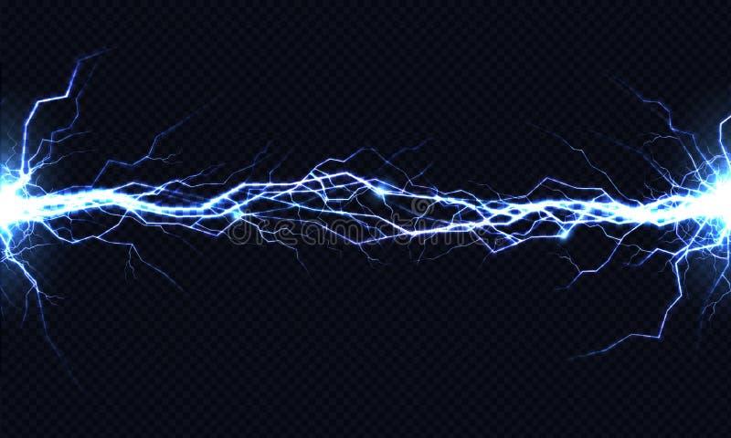Effekt för vektor för urladdning 3d för elektrisk energi ljus stock illustrationer