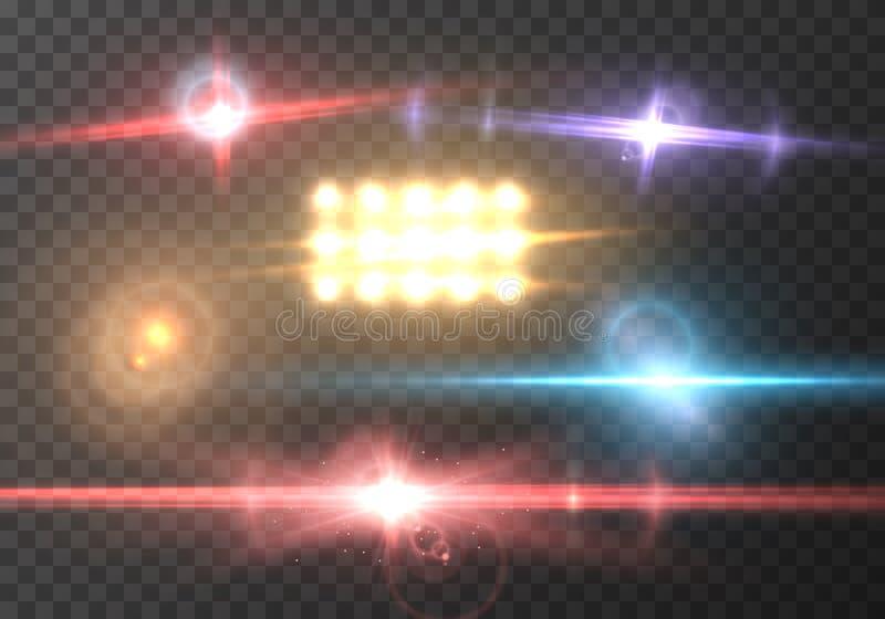 Effekt för vektorLens signalljus Realistisk explosion för stråle för solsignalljusenergi på genomskinlig bakgrund stock illustrationer