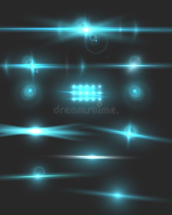 Effekt för vektorLens signalljus Uppsättning för kameraLens signalljus vektor illustrationer