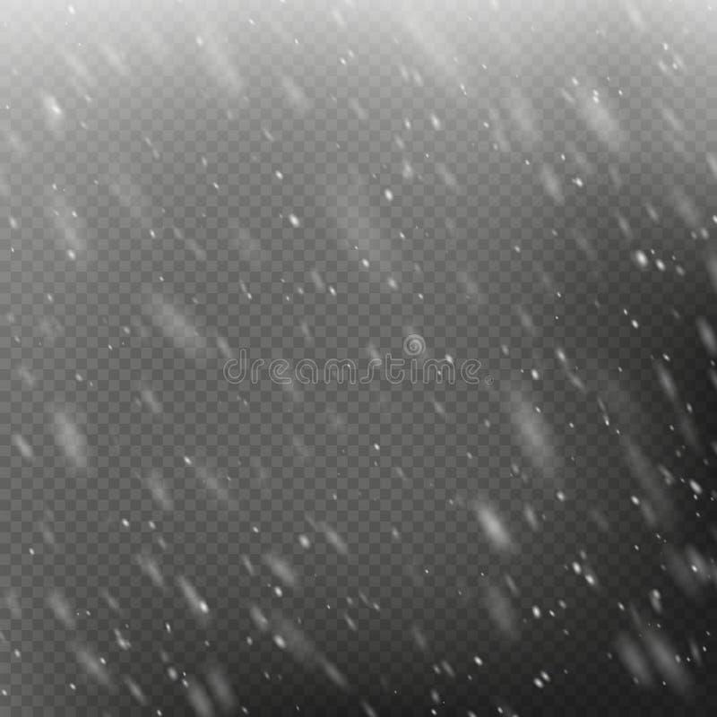 Effekt - fallande jul som skiner snö Snöstorm eller häftig snöstorm tunga snowfall Isolerat p? genomskinlig bakgrund EPS royaltyfri illustrationer