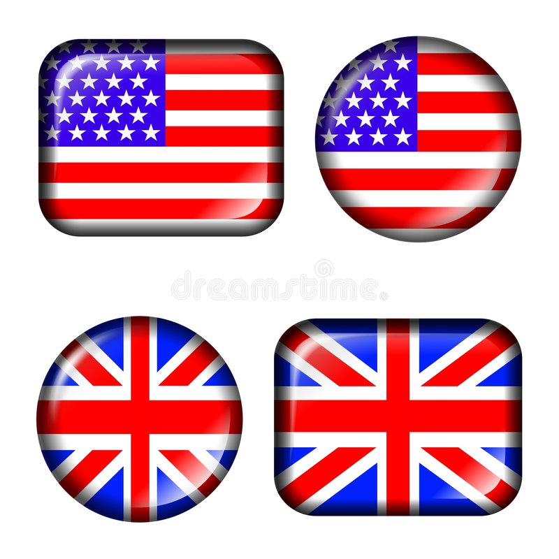 effekt flagga isolerad uk USA för knapp 3d vektor illustrationer