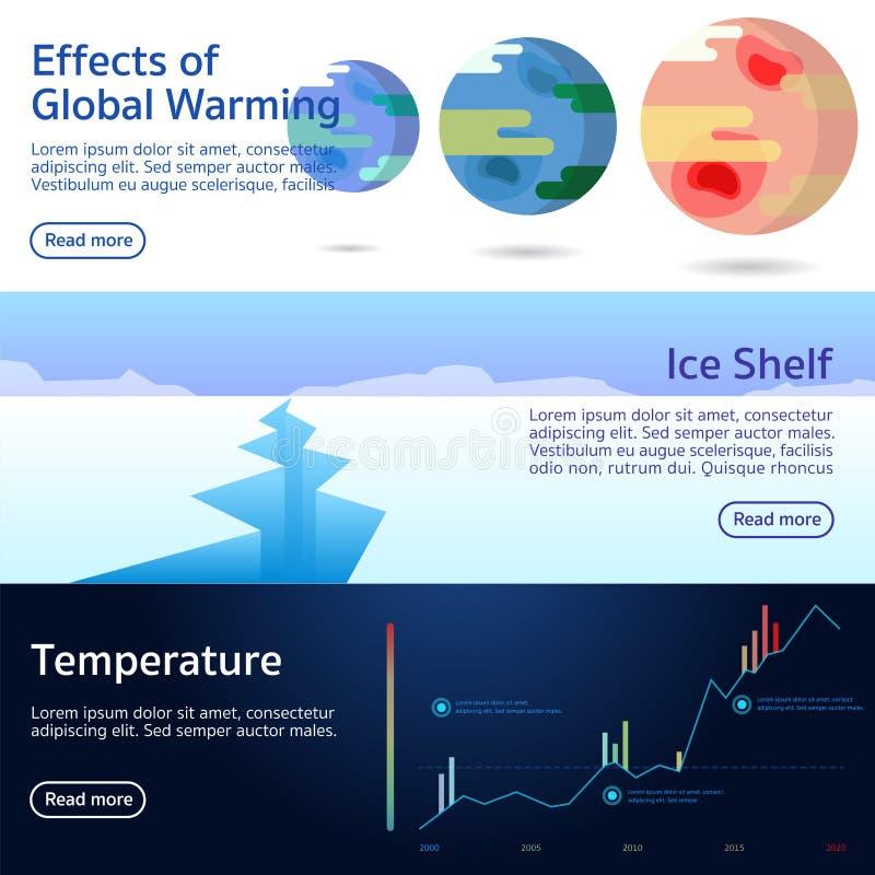 Effekte des globale Erwärmungs-Vektors lizenzfreie abbildung