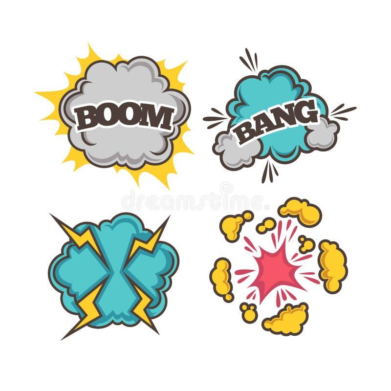 Effekte des Knalles und bunte der Karikatur des Booms mit Staubwolken lizenzfreie abbildung