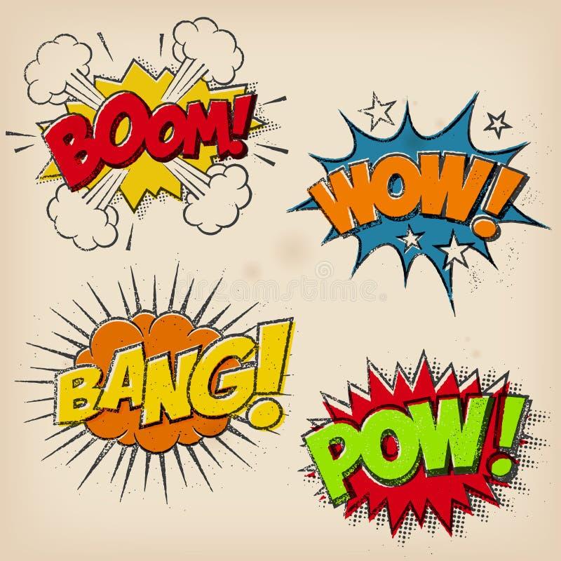 Effekter för komisk tecknad film för Grunge solida stock illustrationer