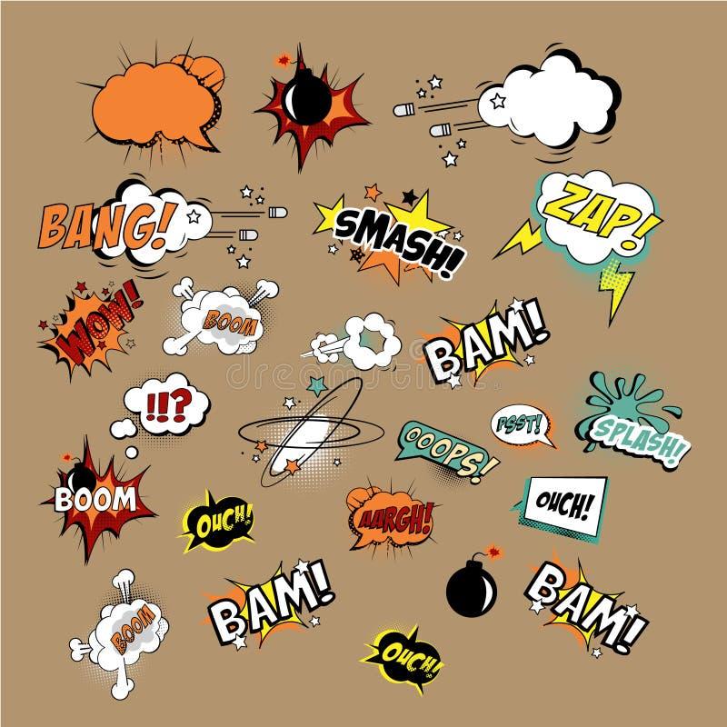 Effekter och explosioner för komiker solida vektor vektor illustrationer