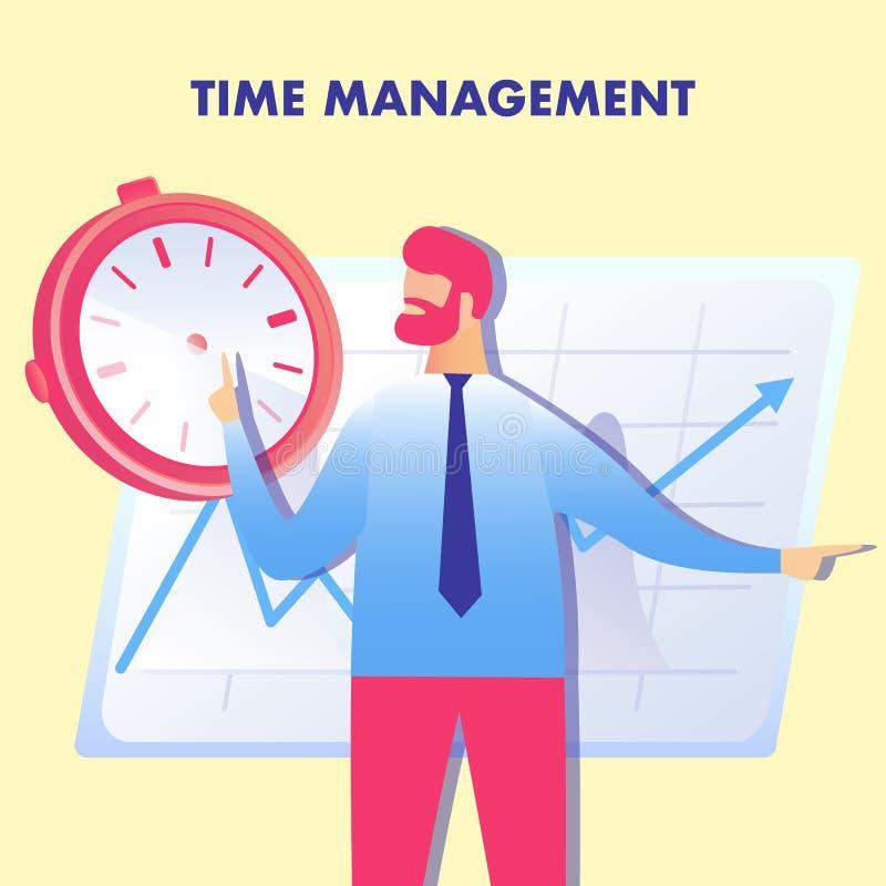 Effektiv planläggning, illustration för Tid ledning stock illustrationer