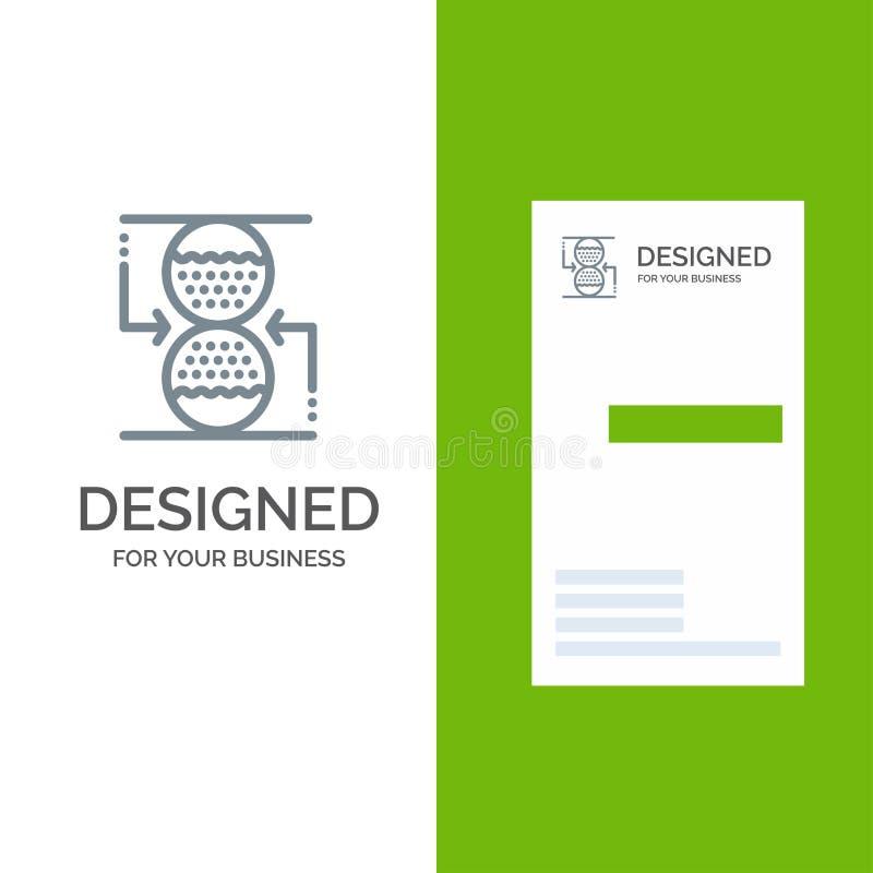 Effektiv, sandklocka Grey Logo Design för koncentration, för kontroll, och mall för affärskort royaltyfri illustrationer