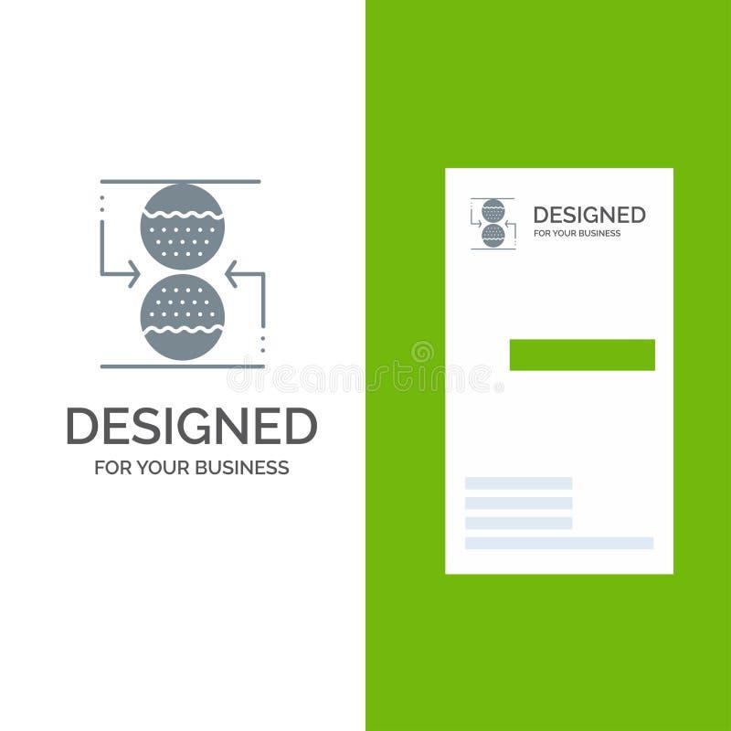Effektiv, sandklocka Grey Logo Design för koncentration, för kontroll, och mall för affärskort stock illustrationer
