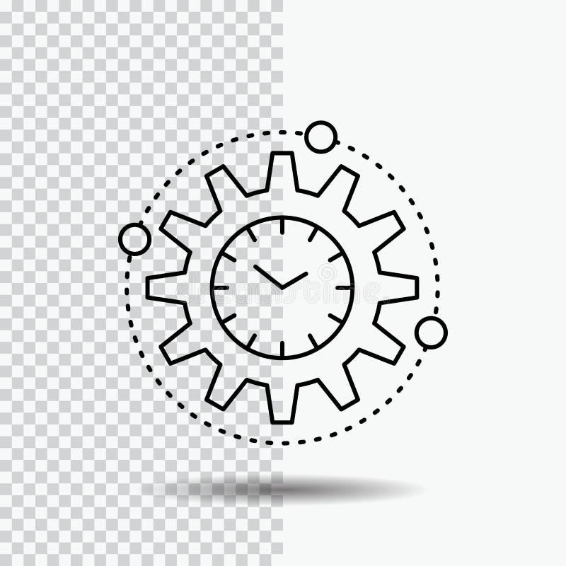 Effektivitet ledning som bearbetar, produktivitet, projektlinje symbol på genomskinlig bakgrund Svart symbolsvektorillustration royaltyfri illustrationer