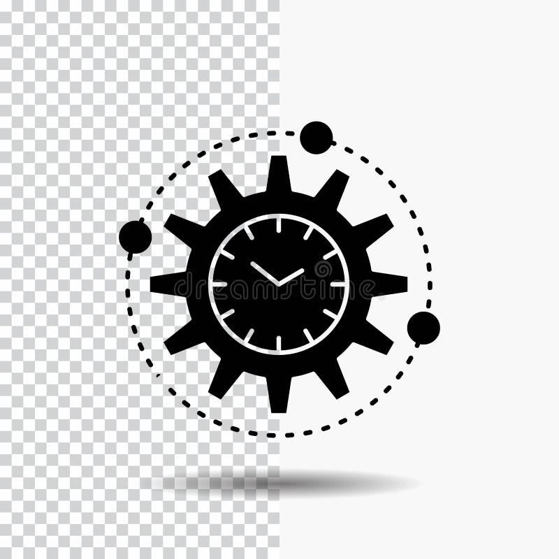 Effektivitet ledning som bearbetar, produktivitet, projektskårasymbol på genomskinlig bakgrund Svart symbol vektor illustrationer