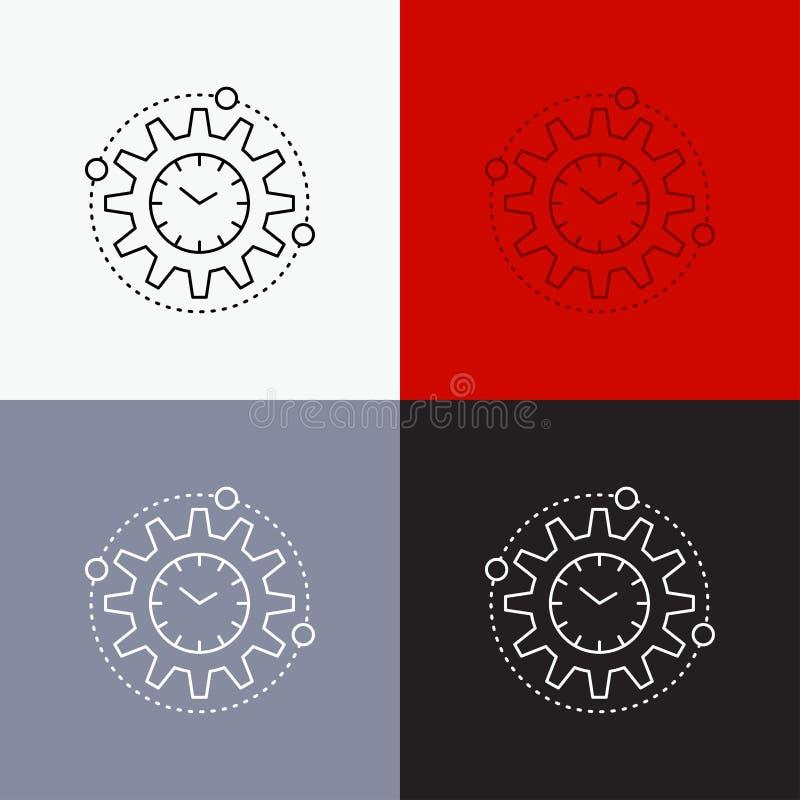 Effektivitet ledning som bearbetar, produktivitet, projektsymbol över olik bakgrund Linje stildesign som planläggs för rengörings royaltyfri illustrationer