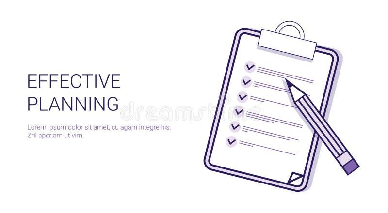 Effektivt baner för rengöringsduk för mall för planläggningsbegreppsTid ledning med kopieringsutrymme vektor illustrationer
