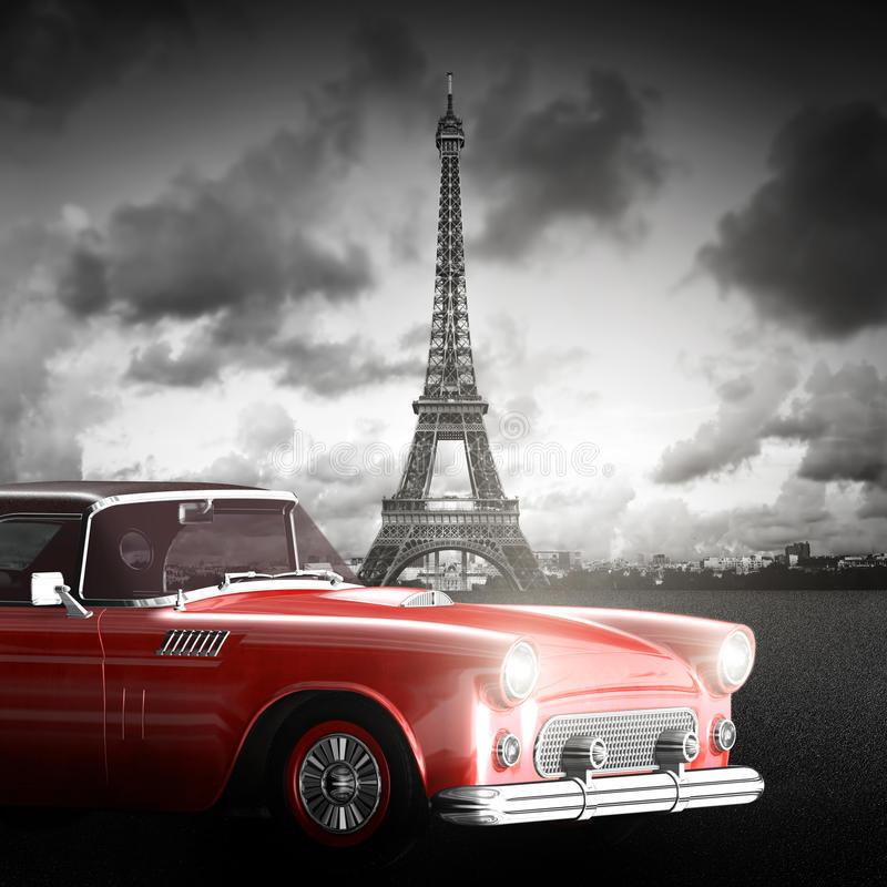 Effel torn, Paris, Frankrike och retro röd bil stock illustrationer