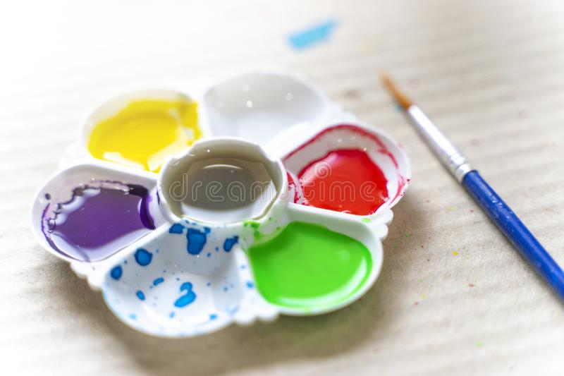 Effervescent and the palette is watercolor Purple, yellow, green, red and blue are all gone.  royalty free stock photo