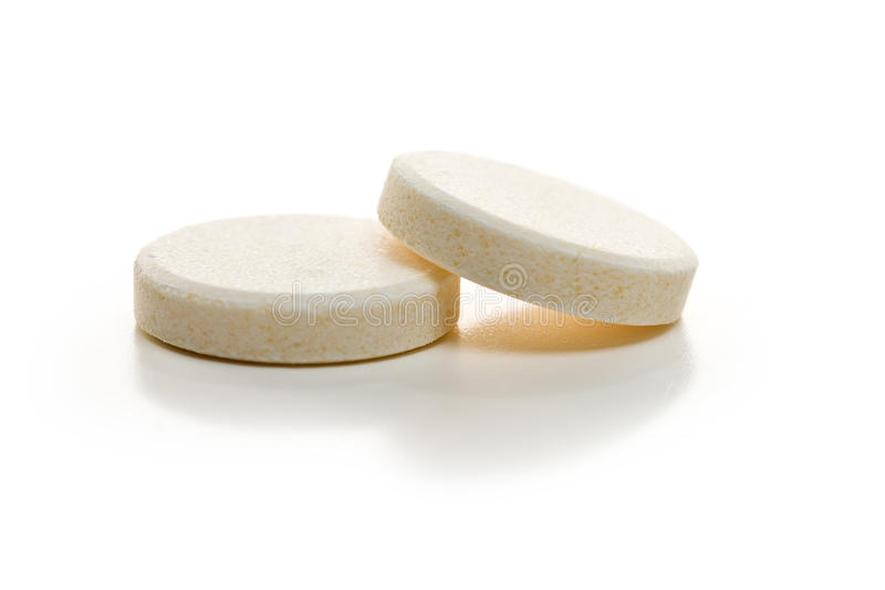 Effervescent tablets. On on white background stock photos