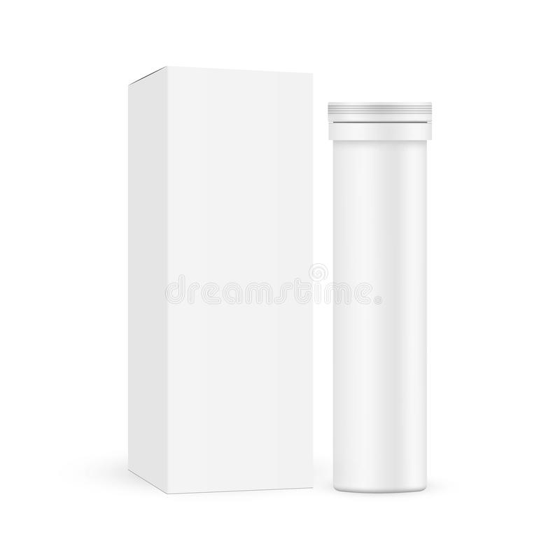 Free Effervescent Tablets Tube With Carton Box Royalty Free Stock Photos - 165984648