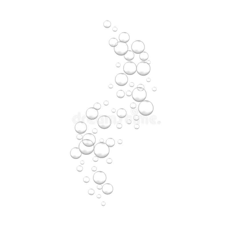 Effervescent water fizzing bubbles on white background. stock illustration