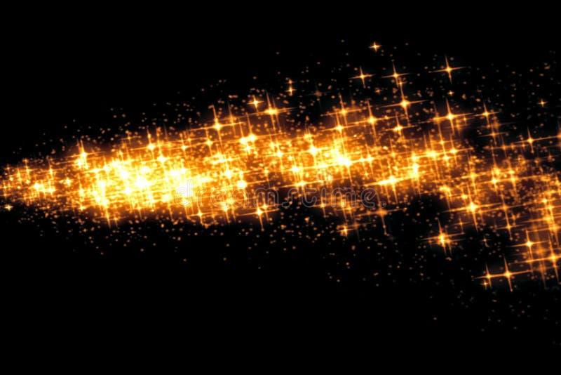 Effet éclatant d'étincelle de transition de queue de bokeh d'étoiles de lueur d'or sur le fond noir, bonne année de vacances photo libre de droits