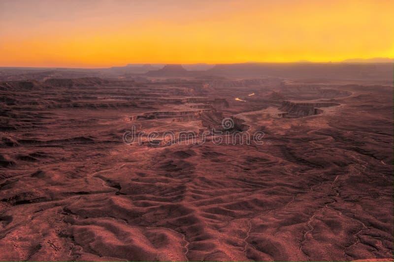 Effet apocalyptique de paysage de canyon grand de coucher du soleil de HDR, Arizona photo libre de droits