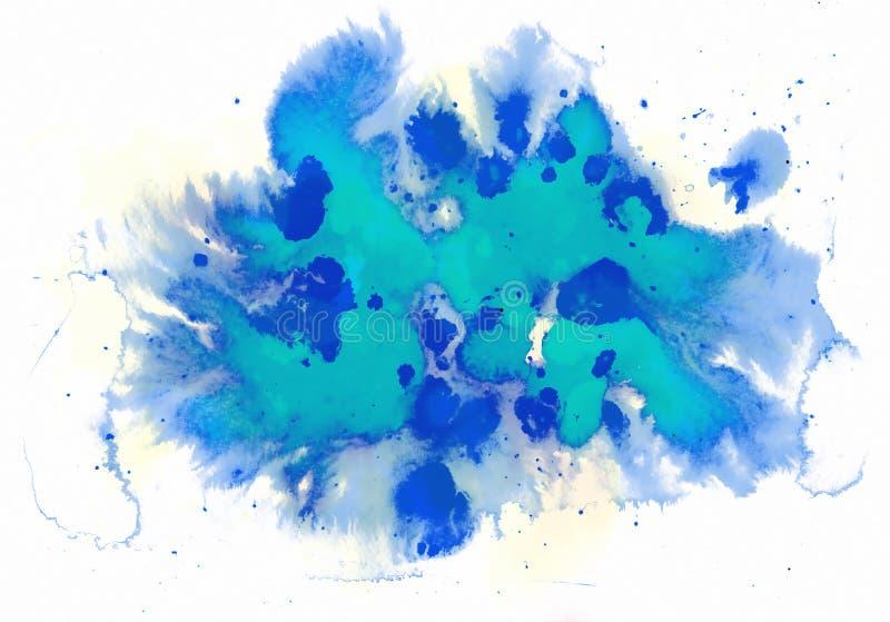 Effet bleu d'aquarelle illustration de vecteur