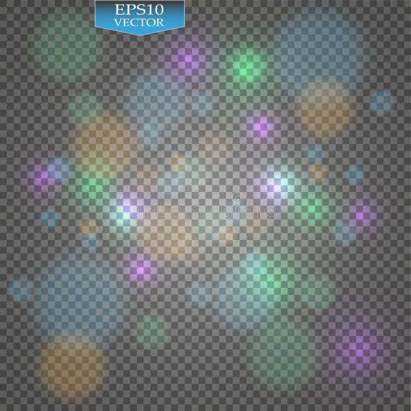 Effet courant de photo de bokeh d'illustration de vecteur Lumière de Noël Nouvelle année brouillée Lumière brillante colorée de b illustration libre de droits
