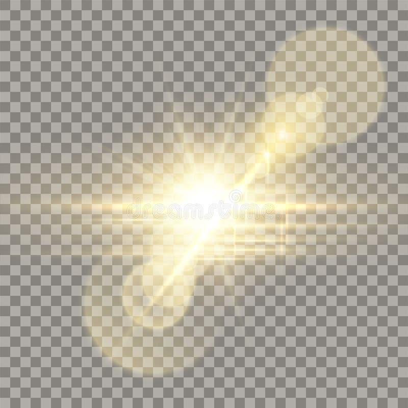 Effet d'or d'appareil-photo de fusée de lentille illustration de vecteur