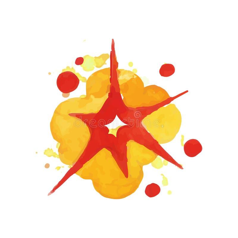 Effet d'explosion de bombe Explosion lumineuse Boom d'aquarelle dans des couleurs rouges et oranges Élément tiré par la main de c illustration libre de droits