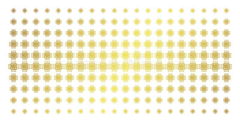 Effet d'image tramée d'or de circuit d'unité centrale de traitement illustration stock