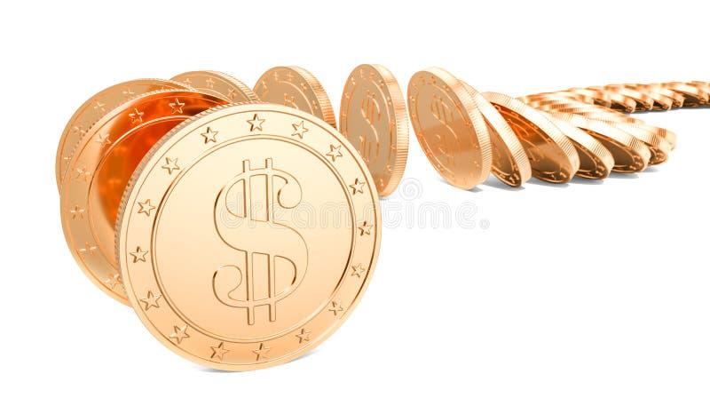 Effet de domino des pièces de monnaie d'or du dollar, rendu 3D illustration libre de droits