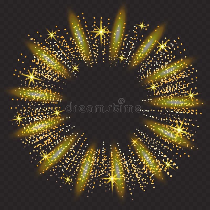 Effet de fond de particules de scintillement d'or de vecteur Texture de scintillement Fond abstrait, étincelles d'or sur le noir illustration stock