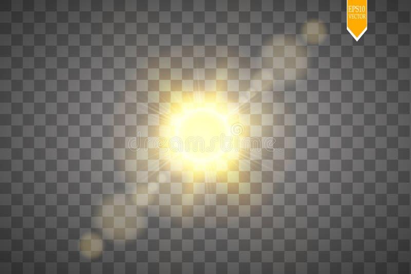 Effet de fusée de lentille d'isolement sur le fond transparent Illustration de lampe-torche de lueur d'or Lumières de vecteur illustration libre de droits